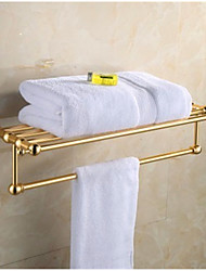 Europe Antique Gold Luxury Towel Bar , 60CM Length Aluminum Wall Mounted Bathroom Towel Holder Only