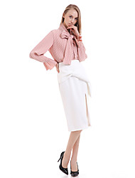 Women's Solid White / Gray Skirts , Work / Casual / Day Knee-length