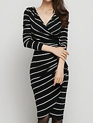 Women's Striped Pattern Bodycon Wrap Dress