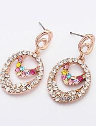 Fashion Oval Layered Alloy / Rhinestone Drop Earrings