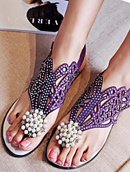 Calçados Femininos-Sandálias-Conforto-Rasteiro-Preto / Roxo-Flanelado-Social / Casual