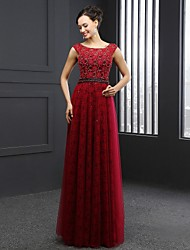 Formal Evening Dress Sheath / Column Jewel Sweep / Brush Train Lace with Beading