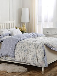 Simple Opulence 100% Cotton Wood Button Blue Floral Printed King Queen Duvet Cover Set