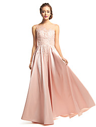 Formal Evening Dress A-line Scoop Floor-length Taffeta / Tulle