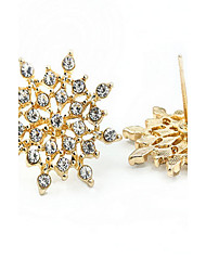 Stud Earrings Sterling Silver Gold Simulated Diamond Fashion Gold White Jewelry 2pcs