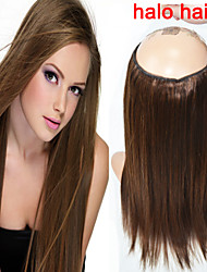 High Quality 1pcs/bag 100g Straight Flip in Hair Extensions Brown Human Remy Hair Halo Hair Extensions 16''-20''
