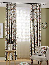 Two Panels Country Floral Bedroom Polyester Blackout Curtains Drapes