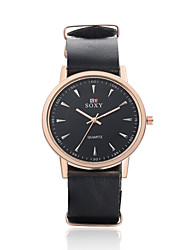 Men's Fashion Round Leather Wristwatches Glass Analog Quartz Watch Casual Business Style Wrist Watch Cool Watch Unique Watch