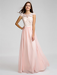 Lanting Bride® Floor-length Chiffon / Lace Bridesmaid Dress - Sheath / Column Jewel with Lace