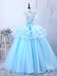 Formal Evening Dress - Sky Blue A-line Jewel Floor-length Tulle