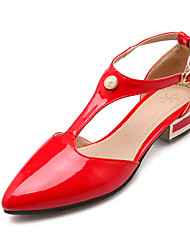 Women's Summer Heels Patent Leather Office & Career / Dress Low Heel Imitation Pearl Black / Red / White