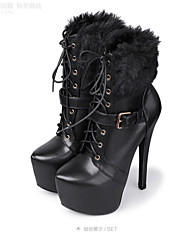 Women's Winter Platform Fashion Boots Leatherette Fur Dress Party & Evening Stiletto Heel Platform Lace-up Black Red