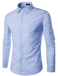 Shirts Tuxedo (Wing Collar) Long Sleeve Cotton Solid Pink / Light Blue / Purple / White / Dark Red