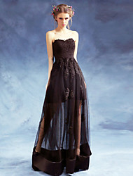 Formal Evening Dress A-line Sweetheart Floor-length Satin / Tulle with Appliques / Draping