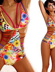 Women's Bandeau One-pieces , Floral Wireless / Padded Bras Spandex / Modal Multi-color