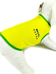 Cani T-shirt Giallo Estate / Primavera/Autunno Lettere & Numeri / Sport Di tendenza, Dog Clothes / Dog Clothing-Pething®