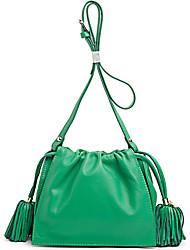 Schoudertas / Draagtas / Reistas / Mobile Phone Bag-Groen-Cilinder-Koeienhuid-Dames
