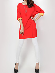 Women's Sexy T Shirt Dress,Patchwork Round Neck Knee-length ½ Length Sleeve Red / Black Cotton Spring