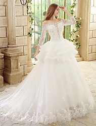 Princess Wedding Dress - Ivory Chapel Train Bateau Tulle