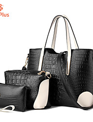 M.Plus® Women's Crocodile Ruffles PU Leather Messenger Shoulder Bag/Tote