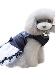 Собака Платья Одежда для собак Мода Стразы Черный