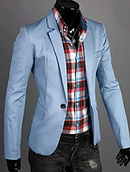 Men's Casual/Daily Work Simple Spring Fall Blazer,Solid Long Sleeve Regular Cotton