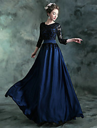 Formal Evening Dress A-line Jewel Floor-length Chiffon / Satin with Appliques / Crystal Detailing / Draping