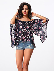 Women's Casual/Daily Street chic Summer Blouse,Floral Boat Neck ½ Length Sleeve Multi-color Polyester Medium