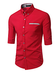 Men's Print Casual / Work / Formal / Sport Shirt,Cotton Long Sleeve Black / Blue / Red / White