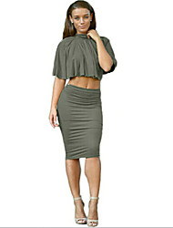 Women's Sexy / Party / Cocktail Solid Bodycon / Two Piece Dress , Turtleneck Knee-length Polyester
