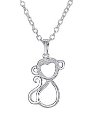 The New Diamond Silver Monkey Pendant Necklace.