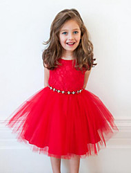 Girl's Jacquard Dress,Rayon Summer / Spring / Fall Red
