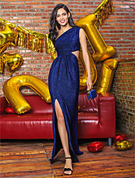 Formal Evening Dress - Dark Navy Sheath/Column One Shoulder Floor-length Knit