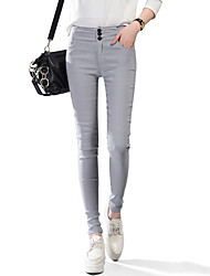 Women's Solid High Waist Pink / White / Black / Gray Bodycon Skinny Pants , Casual / Day / Simple