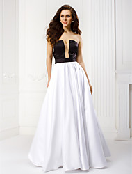 TS Couture Prom Formal Evening Dress - Color Block A-line Strapless Floor-length Satin with Sash / Ribbon Pleats