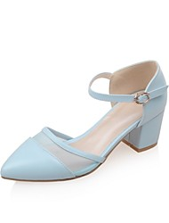 Women's Shoes Leatherette Chunky Heel Heels Heels Outdoor / Office & Career / Casual Blue / Pink / White
