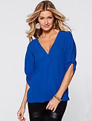 Tee-shirt Aux femmes,Couleur Pleine Décontracté / Quotidien simple Eté ½ Manches Col en V Bleu / Rose / Rouge / Noir / Vert Polyester