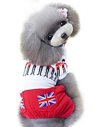 Cães Macacão Vermelho Roupas para Cães Primavera/Outono Britsh / Bandeira Nacional Da Moda