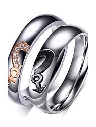 Ringe Hochzeit / Party / Alltag / Normal / Sport Schmuck Zirkon / Titanstahl / vergoldet Paar Statementringe 1 Paar,5 / 6 / 7 / 8 / 9 /