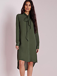 Women's Simple Loose / Chiffon Dress,Solid Stand Knee-length Long Sleeve Green Polyester Summer