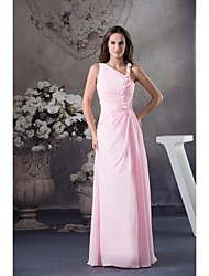 Floor-length Chiffon Bridesmaid Dress Ball Gown Notched with Beading / Flower(s)