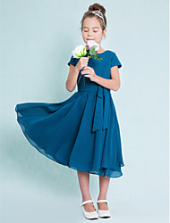Lanting Bride® Tea-length Chiffon Junior Bridesmaid Dress A-line Jewel with Buttons