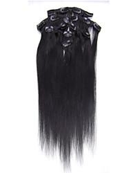 """15 """"18"""" 20 """"22"""" Länge 7pieces Clip in der Menschenhaarverlängerungen gerade 70g-80g Haarverlängerung für Frau cabelo humano"""