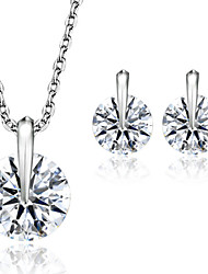 Korean Personality Large Diamond Necklace Earring Sets Fine Jewelry