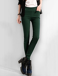 Women's Solid Bodycon Thin Blue / Red / White / Black / Green Long Skinny Pants , Plus Size / Casual / Day