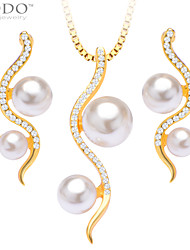 Simple Trendy Luxury Simulated Pearl Jewelry Set Necklace Pendant Earrings 18K Gold Plated Necklace Bridal Gift S20076