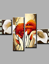 """Ready to Hang Stretched Hand-painted Oil Painting 64""""x44"""" Canvas Wall Art Modern Flowers Calla Lily White"""