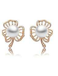 Full Austria Crystal Stud Earrings for Women Imitation Pearl Clover Earrings Fashion Jewelry Accessories