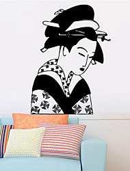 The Ancient Japanese Female Character Pattern Wall Art Decorative Stickers Can Be Removed for Room , PVC 57*79cm