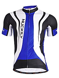 Nuckily Cycling Jersey Men's Short Sleeve Bike Jersey TopsQuick Dry Anatomic Design Moisture Permeability Front Zipper Water Bottle